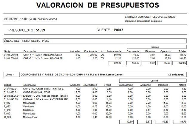 valoracion presupuestos proleanerp